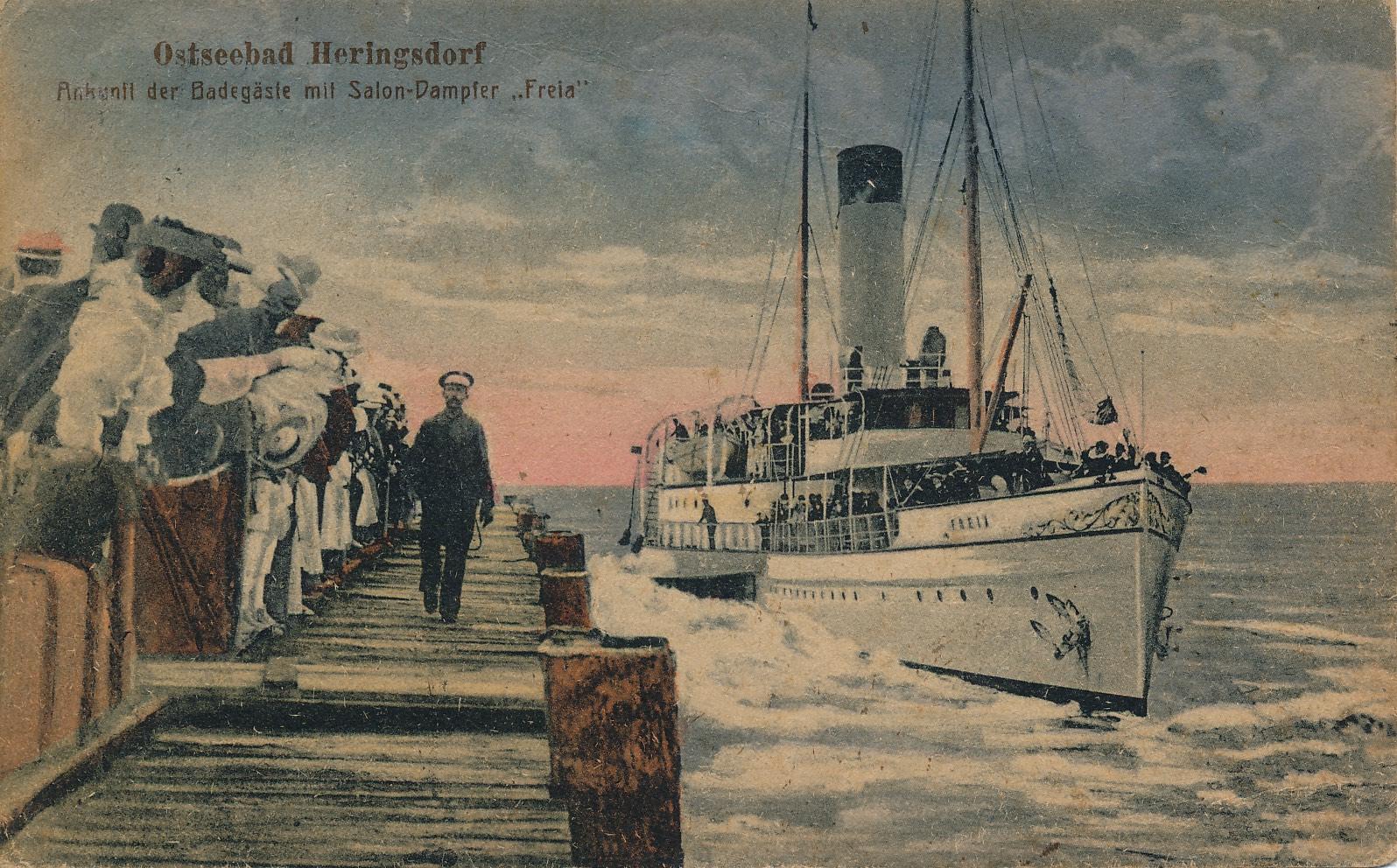 Historische Bild von einem Schiff mit Seemännern am Hafen von Usdeom   Kaiserbäder Usedom